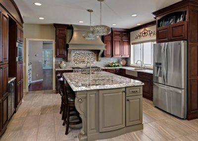Traditional-Cherry-Cabinets-with-Medium-Brown-Painted-Island_2-1009x800